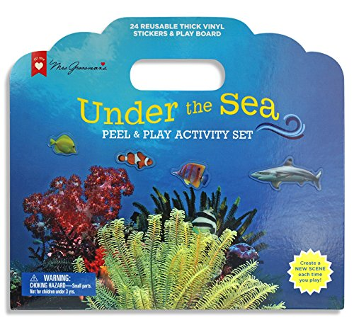 Mrs. Grossman's - Undersea - Peel & Play Kids Activity Set with Reusable Vinyl Stickers & Fold-Out Story Board - with Storage & Travel Handle - for Boys & Girls Ages 3 & Up