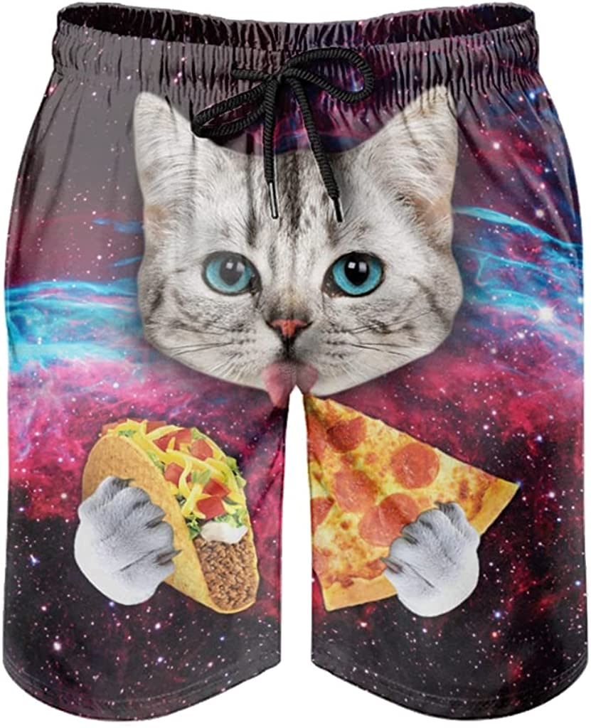 Bhqcflkwpz Men's Swimming Trunks Space Cat Eating Pizza Beach Shorts Quick Dry Swim Shorts with Mesh Lining