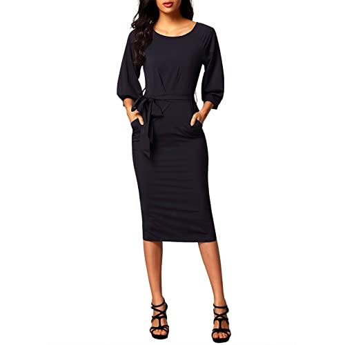 f77da85f0f Bulawoo Women s Round Neck Puff Sleeve Belted Pencil Dress with Pockets