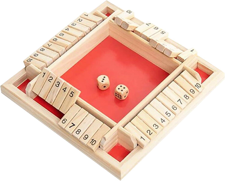 jiawangwang Juego de Mesa de Madera Grande de 4 Lados Fiestas y Viajes Rojo Tablero de Madera Shut The Box Juego de Dados de Tablero matem/ático Tradicional para Juegos Familiares