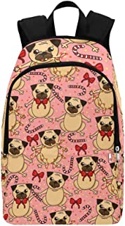 Sweety Cute Pug Lollipops Bows Casual Daypack Travel Bag College School Backpack for Mens and Women