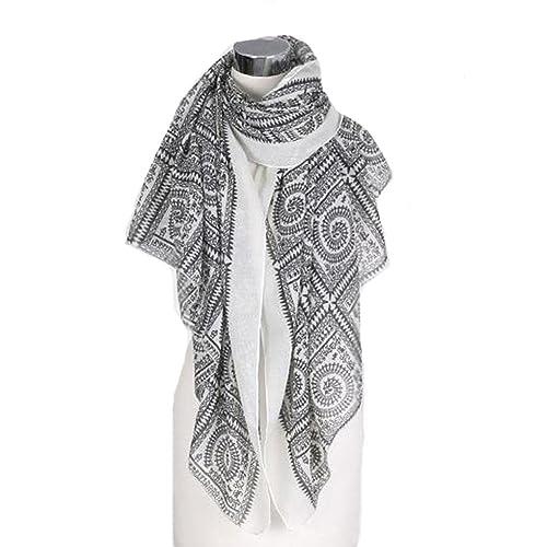 Lumanuby Belle Écharpe de Pur Style ethnique littéraire Coton Warm and  Windproof Collar Foulards Elégant Écharpe 043f06e9b93