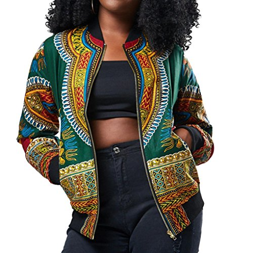 iQKA Women African Dashiki Long Sleeve Coat Biker Bomber Outwear Short Zip Up Jacket(Green,x-Large)