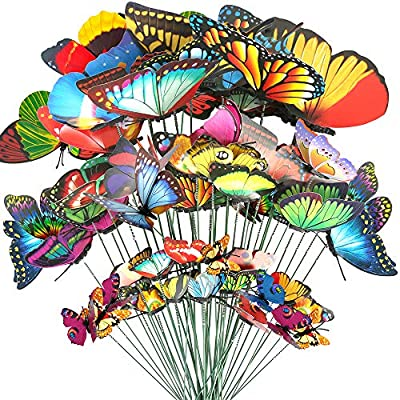 Teenitor 40 Pcs Butterfly Stakes, 5 Different Size Waterproof Butterflies Stakes Garden Ornaments & Patio Decor Butterfly Party Supplies Yard Stakes Decorative for Outdoor Christmas Decorations