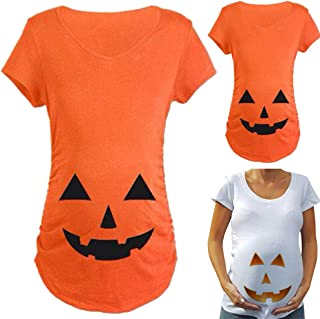 Tops for Pregnant Woman Pumpkin Carved Face Halloween Printed Maternity Clothes Tee Shirt Pregnancy Clothes