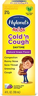 Cold Medicine for Kids Ages 2+ by Hylands, Cold and Cough 4 Kids Grape, Daytime, for Cough, Decongestant, Allergy and Comm...