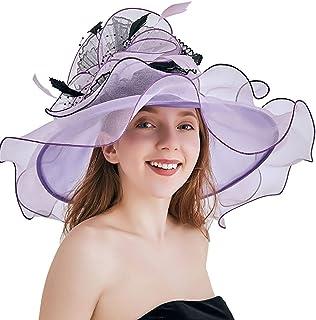 COMVIP Women Summer Beach Organza Foldable Sun Hat with Detachable Flower