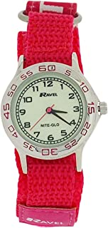 Ravel Girls Nite-Glo Quartz Luminous Dial & Pink Easy Fasten Watch R1708.5