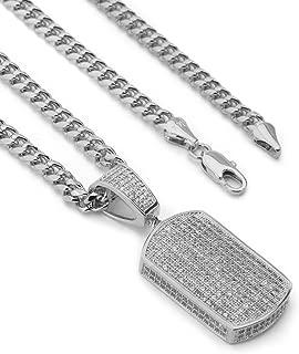 Lab Diamond Micro Pave Ice Grid Dogtag Pendant w/Miami Cuban Chain BR014G