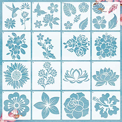ZONON 16 Piece Flower Stencil Set