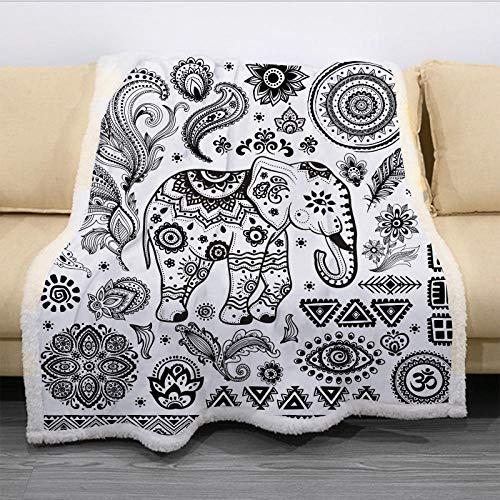 MOUPSDT Impresión 3D Manta de Sherpa Flor de Elefante de Estilo étnico Negro Blanco Reversible para niños niños Adultos Manta sólida de Dibujos Animados de Felpa Impresa para Cama sofá 150x200 cm