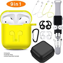 TAOSANHU AirPods Case 9 in 1 Airpods Accessories Kits Protective Silicone Cover and Skin Compatible Apple Airpods 2&1 Charging Case with Airpods Ear Hook/Tips/Airpods Strap/Clips/Watch Band Holder
