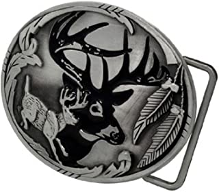Adult Men's Deer Hunter Buck Woods Hunting Belt Buckle Silver