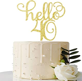 Hello 40 Cake Topper-40th Birthday/Wedding Anniversary Party Sign Decorations
