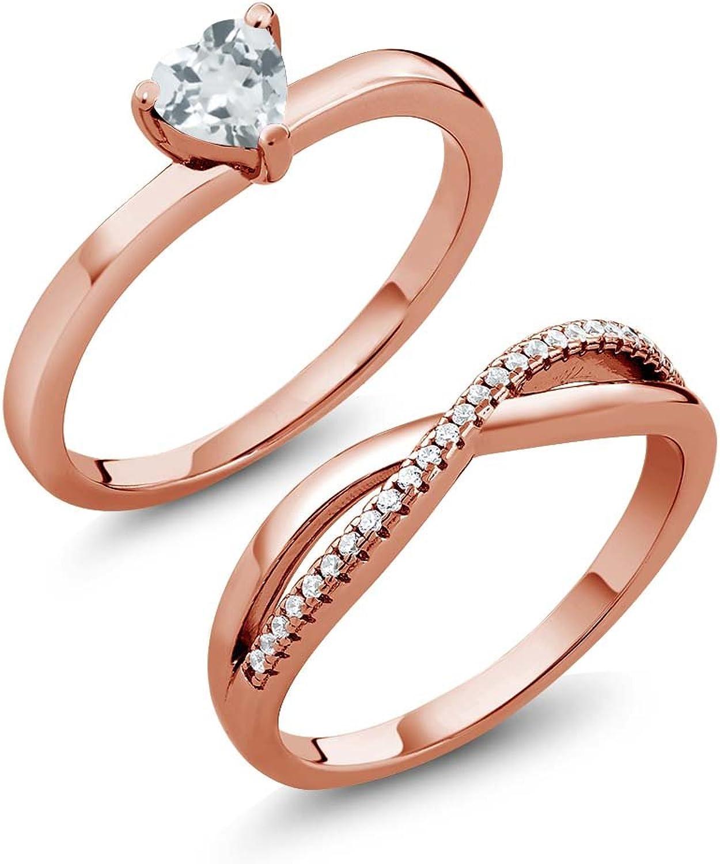 0.68 Ct Heart Shape Aquamarine 18K pink gold Plated Silver Engagement Wedding Ring Set