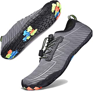 Hotaden Water Shoes for Men Women Quick Dry Barefoot Beach Shoes Aqua Shoes Swim Surf Diving Boating Shoes Grey Size: 8.5 Women/7 Men