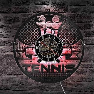 网球时间乙烯基唱片挂钟小夜灯功能壁挂艺术装饰 12 英寸 Lp 手工礼品