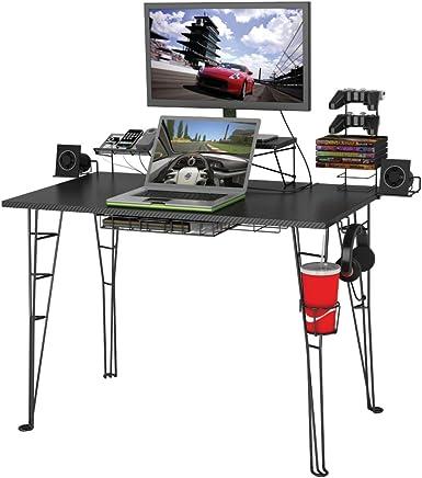"Atlantic Gaming Desk Multi Function - 32"" TV Stand, Charging Station, Speaker, 5 Game, Controller & Headphone Storage"