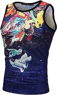 Keaac メンズタンクトップ3 DプリントクールプリントジムトレーニングTシャツ