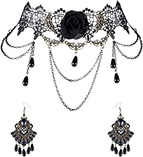 CHICHIC Halloween Gothic Black Lace Choker Necklace Earrings Set Victorian Lolita Vampire Vintage for Women Party Costume