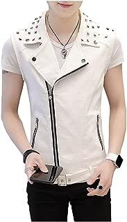 Men's Sleeveless Lapel Punk Zipper Denim Jean Vests Jacket with Rivets