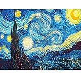 Alfiudad Kits de pintura de diamantes, cuadros de pintura, pintura de diamante, bordado de cristal, estrás, bordado para casa, pared y decoración de entrada (cielo estrellado)