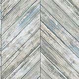 Roommates Herringbone Blue & Tan Wood Boards Peel and Stick...
