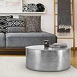 WOMO-DESIGN Mesa de Centro Hecha a Mano Estilo Oriental Redonda Ø 76x32 cmplateada de Aluminio - Mesita para salón diseño Martillado Plano de Metal - Tabla Auxiliar para Tomar el café y té