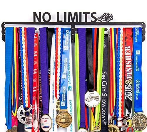 Urban Active Sports Medalla Soporte + no Limits + Medalla Percha Pantalla con Capacidad para hasta 60+ medallas