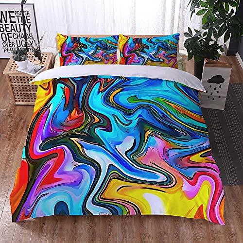 Bedclothes-Blanket Jugendliche Einzelbett Bettbezug,Bettwäsche-DREI-teiliges Satz von Kissen 3D digitaler Druck bunten Marmor-34_210x210 cm.