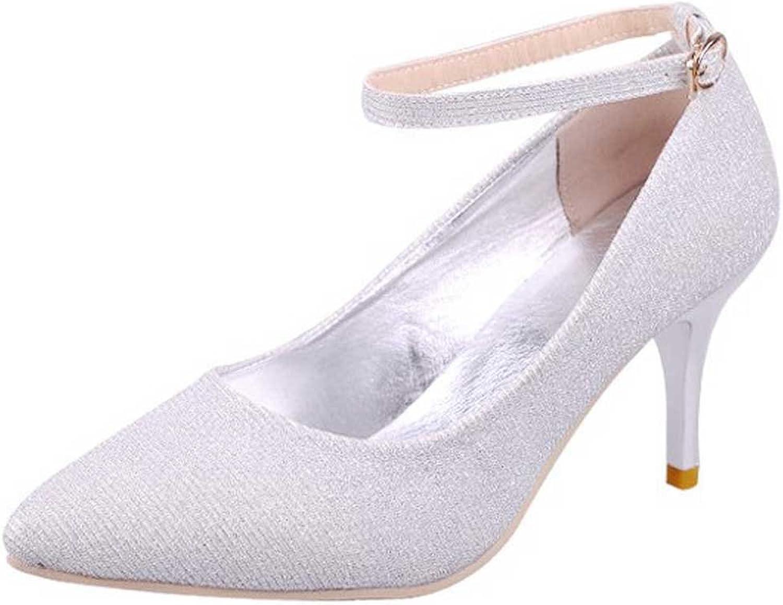 Wanson Damen High Heels Pailletten Stoff Sexy Mode Schnalle Stiletto Heels Braut Hochzeit Schuhe Pumps Silber 8Cm,XL  | Kunde zuerst