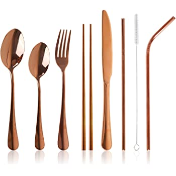 Pair of 4 Piece Camping Holiday Travel Cutlery with Cases UK Fast Delivery.