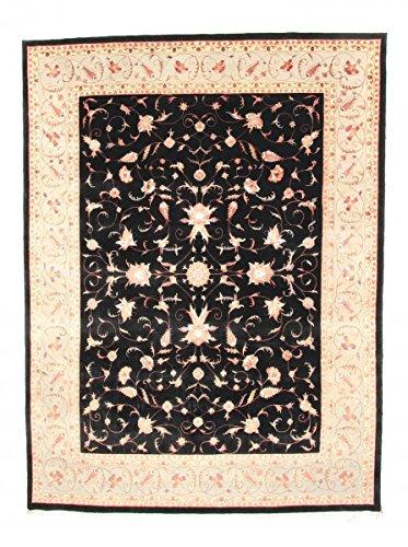 Nain Trading Indo Täbriz 319x245 Orientteppich Teppich Schwarz Handgeknüpft Indien