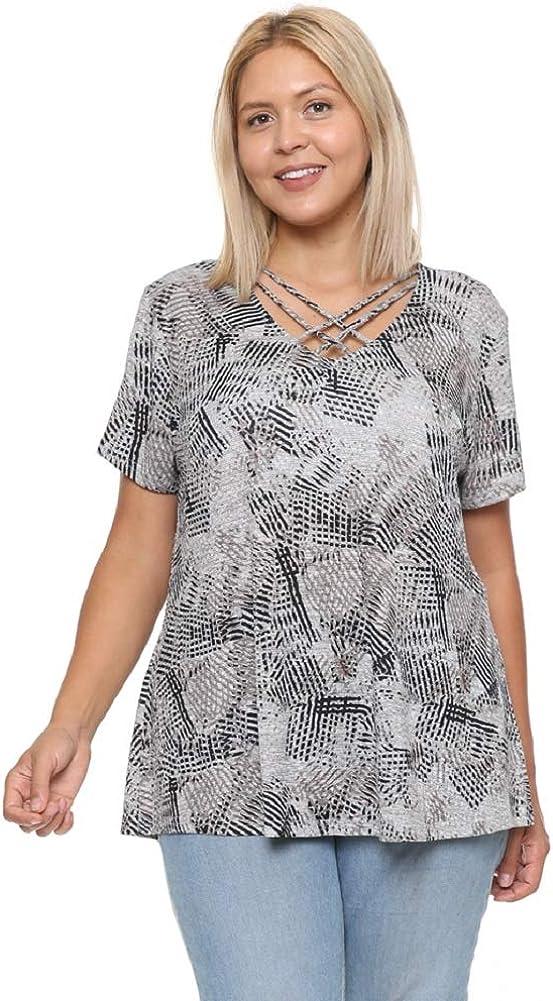 DAMOA Women's T Shirt Top - Plus Size Casual Criss Cross Neck Short Sleeve Soft Knit Print Summer Tunic Blouse Tee Tshirt