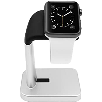 Macally Stand for iWatch - The Perfect Nightstand Charging Dock Station - Compatible with Smartwatch Series 6, Series 5, Series 4, Series 3, Series 2, Series 1 (44mm, 42mm, 40mm, 38mm) (Silver)