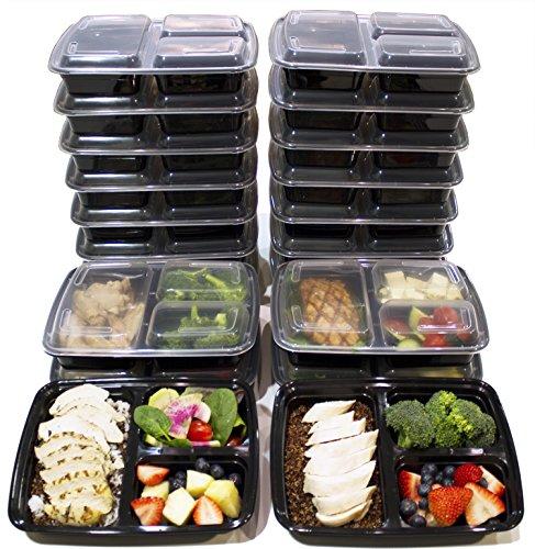 (20er Pack) 3-Fach Meal Prep Container, BPA-freie Frischhaltedose mit Deckel, Bento Box 1L, auslaufsicher, luftdicht, mikrowellengeeignet, einfache Portionskontrolle