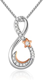 White Gold Plated Infinity Love Necklace Rose Gold Crescent Moon and Star Jewelry with Cubic Zirconia, Gift for Women and Girls Anniversary Presents for Mom, Girlfriend, Wife, Sister
