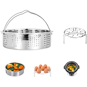 Rack Streaming Recipe and Cleaning Cloth Aozita Steamer Basket for Instant Pot Accessories 5,6,8 qt Pressure Cooker with Removeable Dividers
