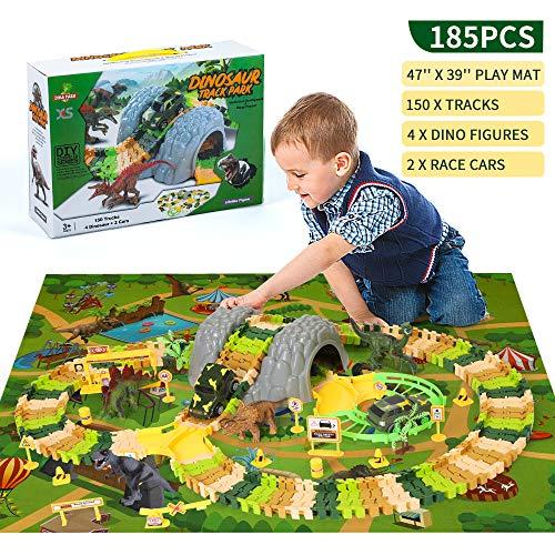 Dinosaur Race Car Track Toys with Play Mat, Dina Park 185 PCS Flexible Track Train Play Sets with 4 Dino Figures, 2 Car, 47' x 39' Play Mat for Boys Kids Birthday