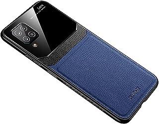 حافظة سامسونج جالاكسي A12 من الجلد الناعم غطاء سيليكون غطاء حماية زجاجي - أزرق
