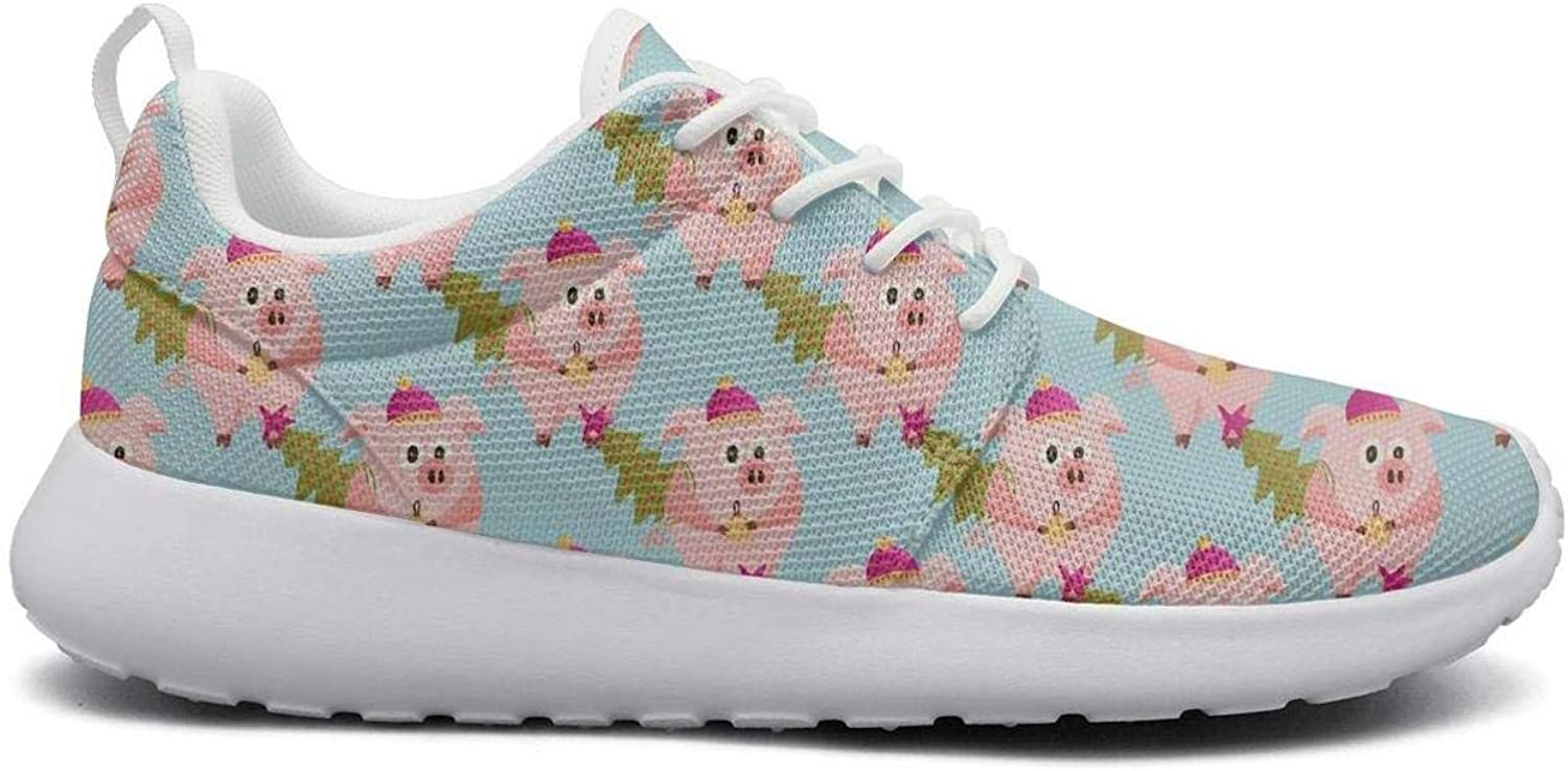 Gjsonmv New Year 2019 Pink Pig with Christmas Tree mesh Lightweight shoes for Women Non Slip Sports Tennis Sneakers shoes
