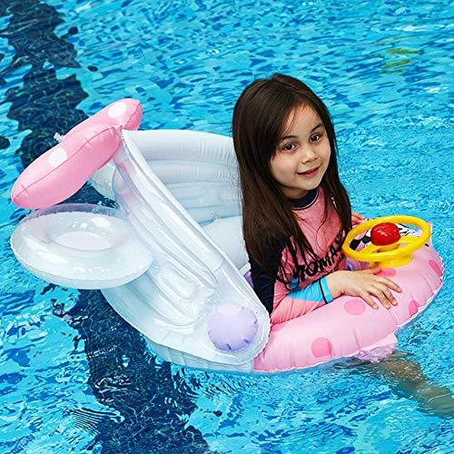 Einzigartiger Baby Schwimmtrainer mit abnehmbarem Sonnendach, Ente Schwimmring Baby, Baby Schwimmhilfe mit Sonnenschutz, Schwimmreifen für Babys, Kleinkinder, Schwimmhilfen Kinderboot Beach (B)