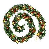 Flowerssea Guirnaldas de Navidad para escaleras, chimenea iluminada con multicolor artificial DIY árbol de Navidad decoración 9 feet Paquete de 1
