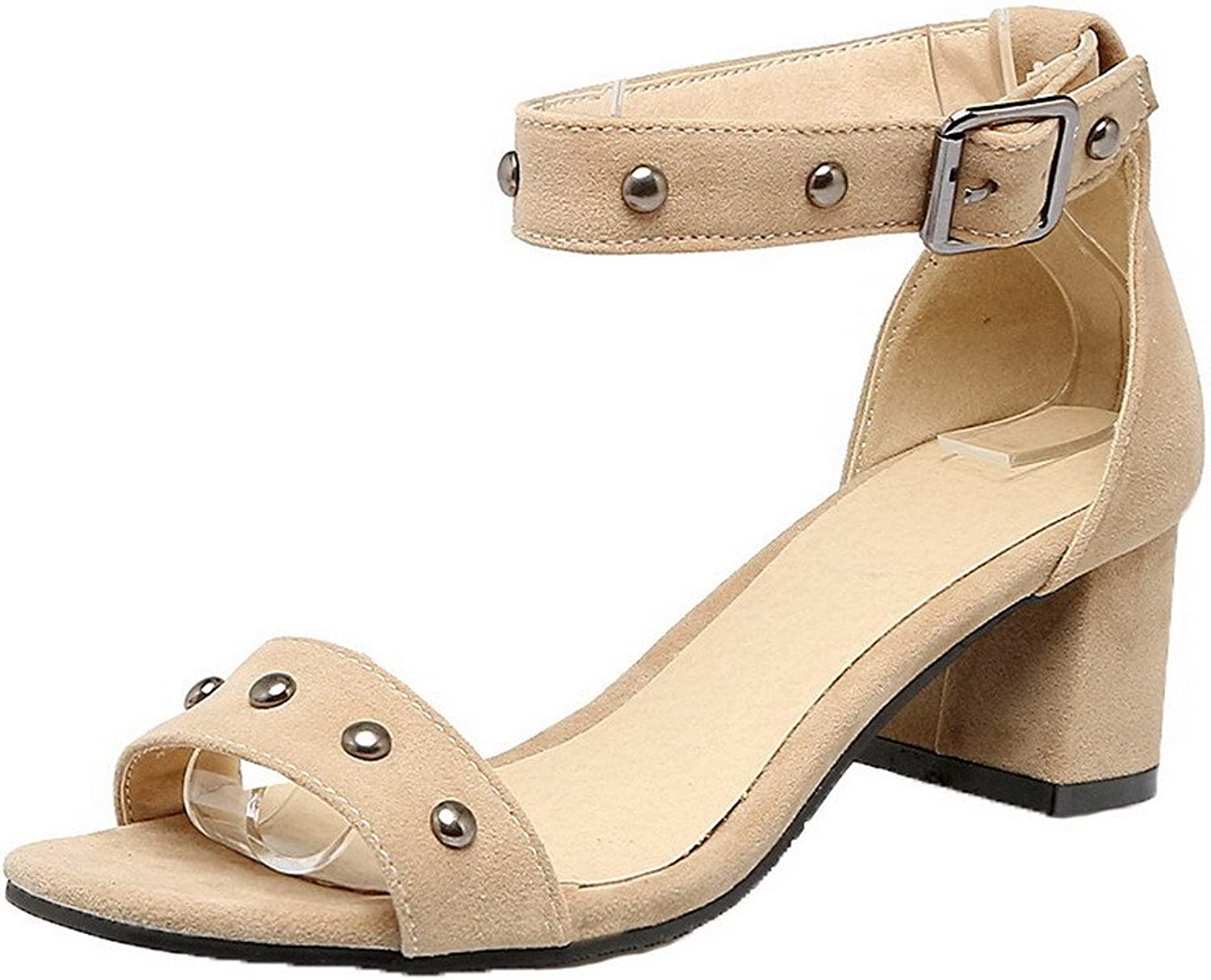 WeiPoot Women's Open-Toe Frosted Kitten-Heels Buckle Solid Sandals, EGHLH005628