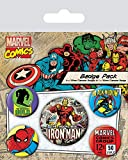 AMBROSIANA Badgepack 5 Pezzi Marvel Retro Iron Man...