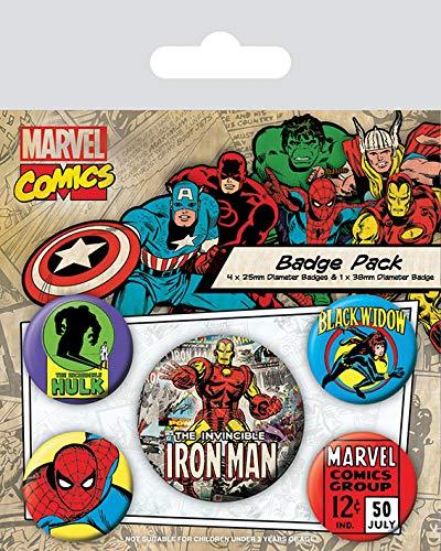 Pyramid International Marvel Retro Iron Man Badge, Multicolore, 10 x 12,5 x 1,3 cm