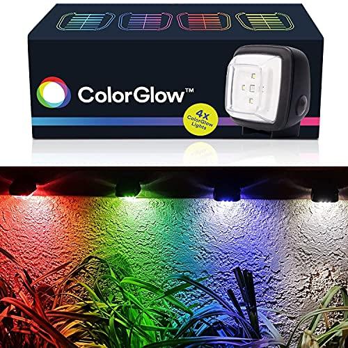 BRIGHTOLOGY - Color Glow Solar Lights (4 Lights) - Waterproof Outdoor Solar Powered Rainbow Lights - Water Resistant Landscape Lighting for Gutter, Fence, Patio, Garden, Wall, Yard, Attic, or Walkway