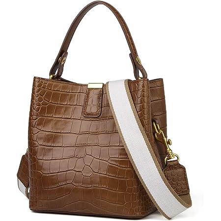 FOXER Women Leather Handbags Designer Crocodile Pattern Bucket Bag Shoulder Bag…