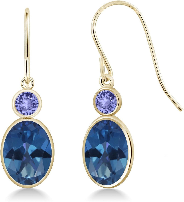 2.84 Ct Oval bluee Mystic Topaz bluee Tanzanite 14K Yellow gold Earrings