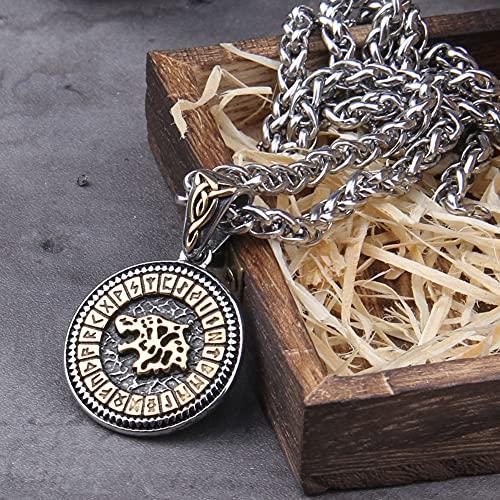 Collar con Medalla Lobo Vikingo Fenrir para Hombres y Mujeres, Collar con Colgante Amuleto Letra...
